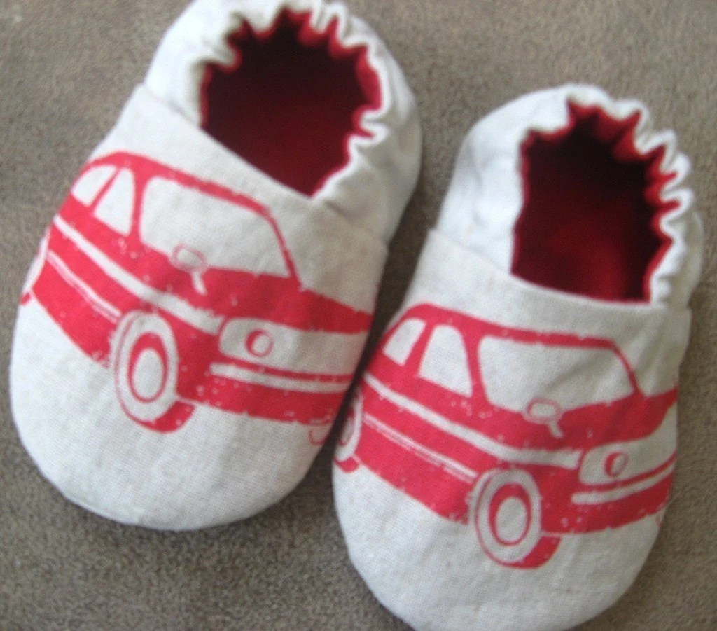SALE,Reversible Baby Shoes, Echino Cars