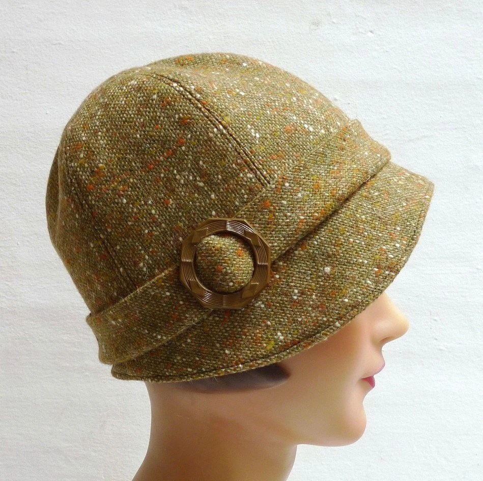 Cloche Hat in Vintage Khaki Tweed with Vintage Buckle