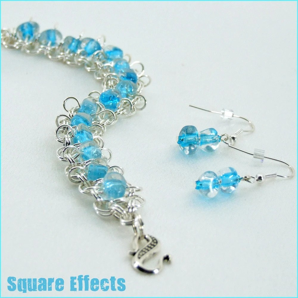 EBTW-on SALE-turquoise blue triangle beaded chainmaille bracelet and earrings