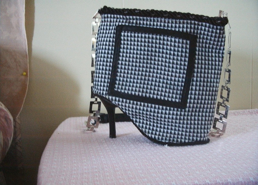 shoe purse black and white with square metal strap