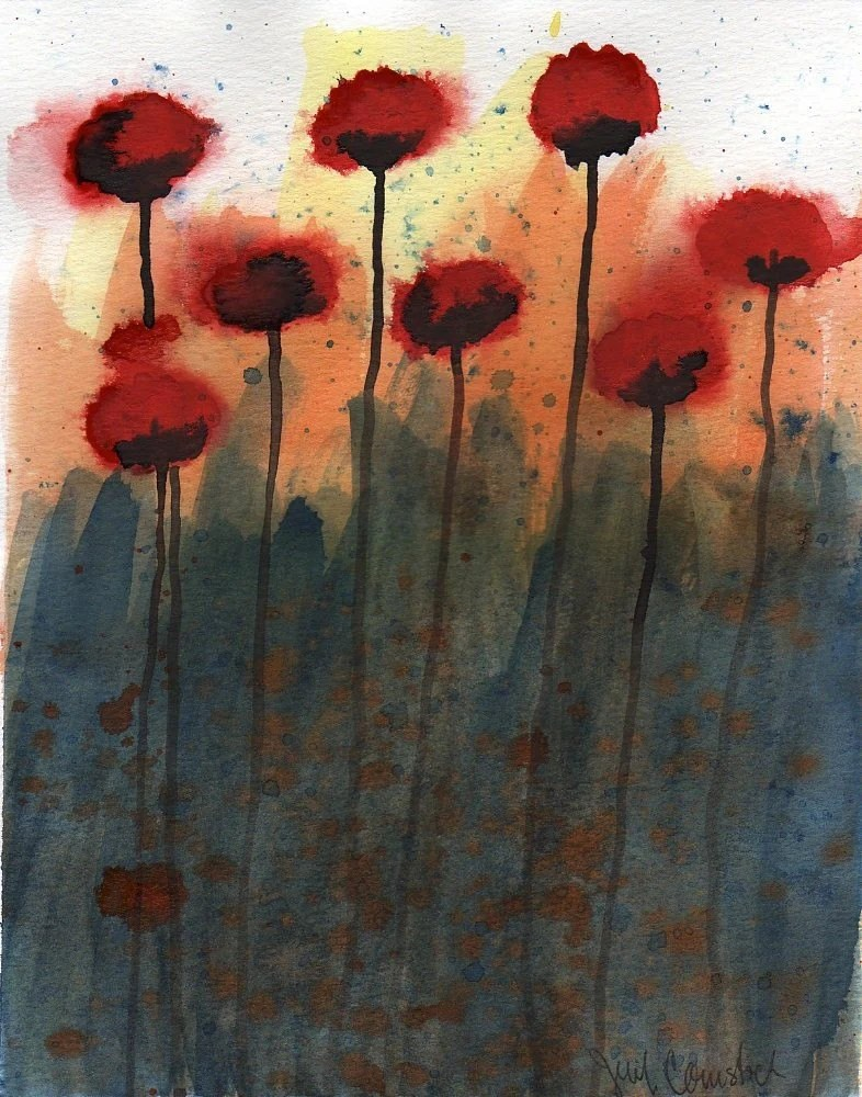 "Red Flowers -- Original Watercolor Painting 8x10"""