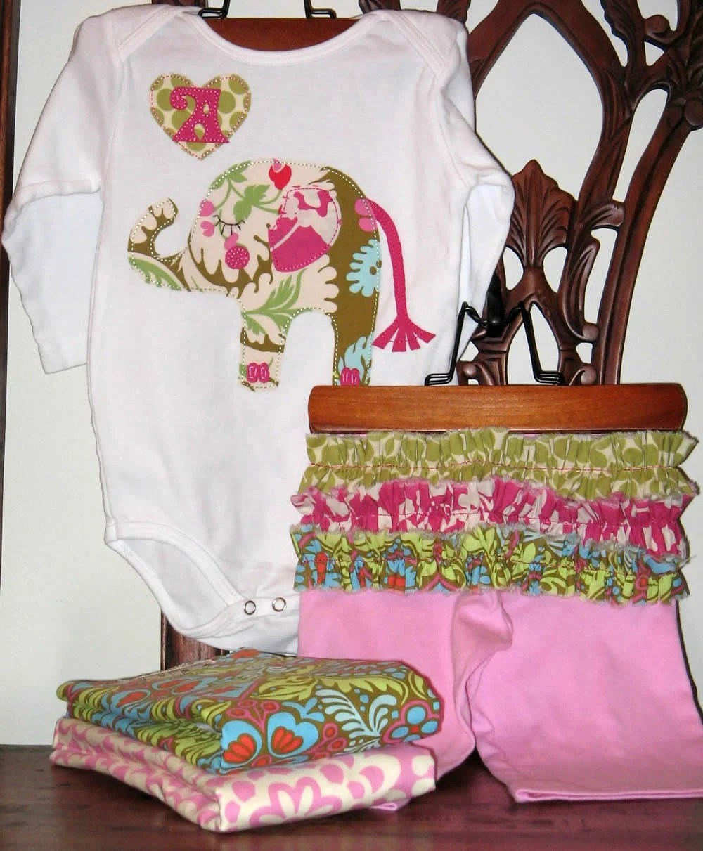 Personalized Harper the Elephant Top, Pant and 2 Fancy Burp Cloths