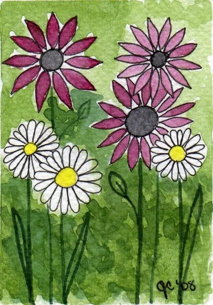 Pink Flowers, White Flowers -- Original Watercolor ACEO