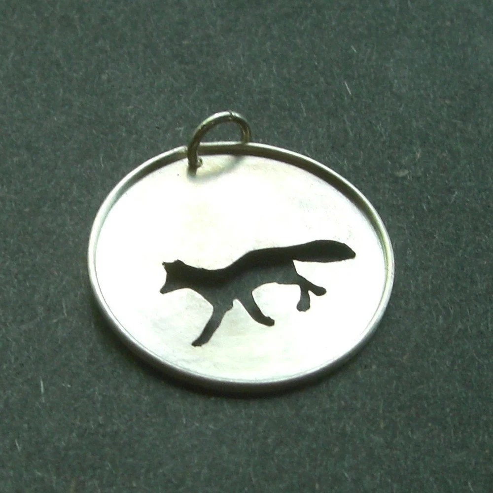 Custom Sterling Silver Fox Pendant