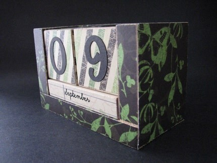 Perpetual Wooden Block Calendar - Stripes Flora and Butterflies