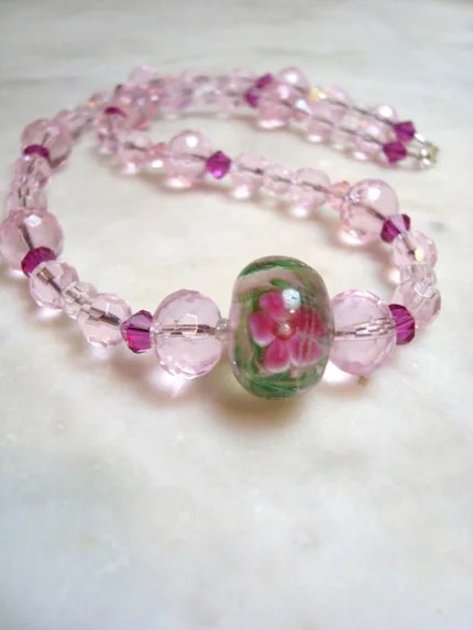 Pink Flowers in a Meadow Necklace
