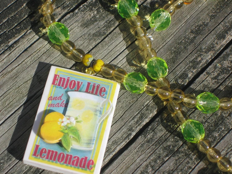 Yellow Czech Glass Choker w/ Lemonade Pendant - by Cassowary Jewelry