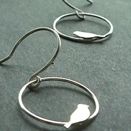 Silver Chick Earrings