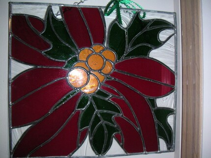 Stained Glass Poinsettia Panel