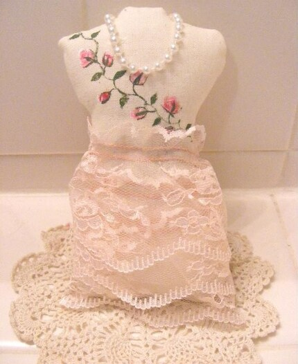 Pink Roses Dress Form Lavender Sachet Pillow