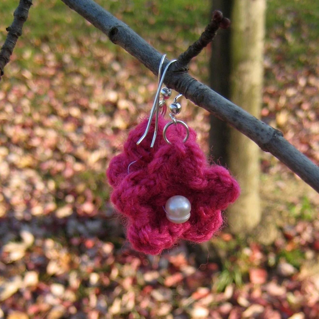 Pink Crochet Flower Earrings with Pearl, $9.00 on ETSY
