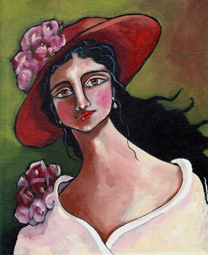 Lady In Red Hat and Roses Folk Art Print