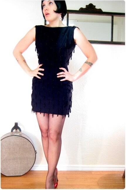 Vintage 1960's Pin-Up Wiggle Dress with Fringe Trim