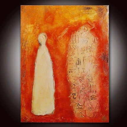 The Keeper (24x18) Sculpted Abstract Mixed Media Painting with Certificate of Authenticity - See the close up