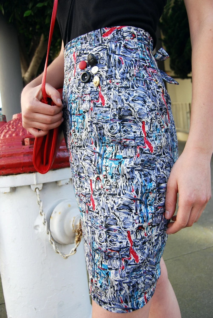 Paintbrush Silk Long Pencil Skirt