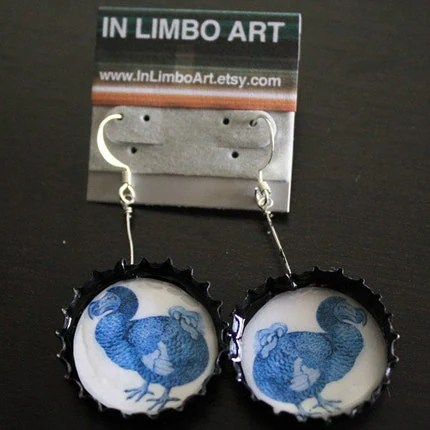 Blue Dodo Illustration earrings