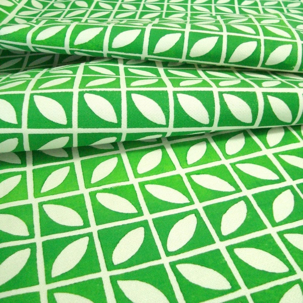 Minileaves in Apple Green- Block Printed Fabric 1/2 Yard