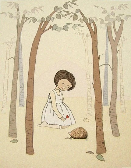 I heart hedgehogs -  A little girl shares a little love with her forest friend