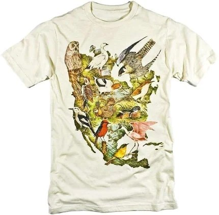 Bird T-shirt Birds of North America Collage Audubon Colorful Graphic Tee S,M,L,XL,XXL