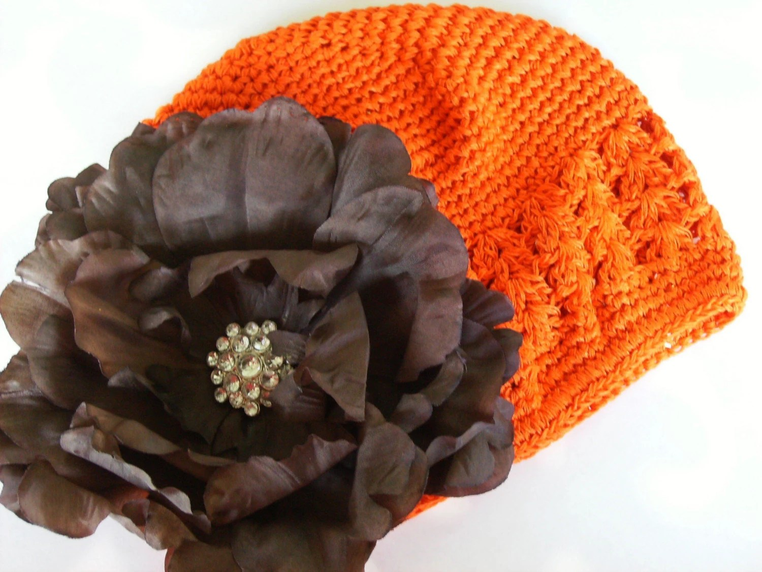 Beanie Cap With Jeweled Peony Clip