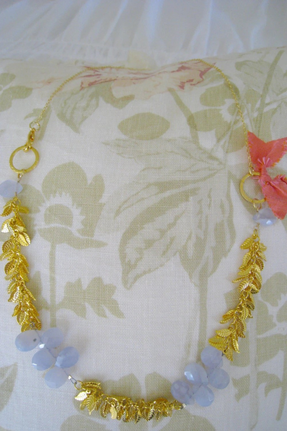 gold leaf chain with light blue chalcedony gemstone necklace