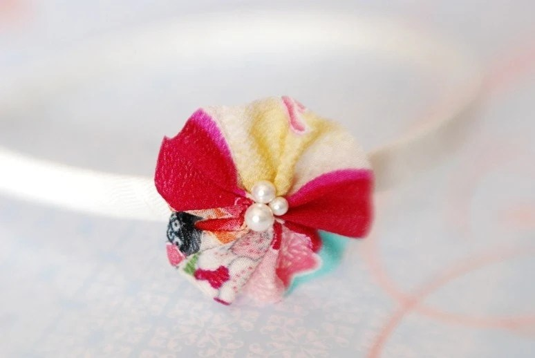 Oriental Innocence - Japanese Red Floral Chirimen Ribbon, Pearls, Hair Band, Head Band, Hair Accessory