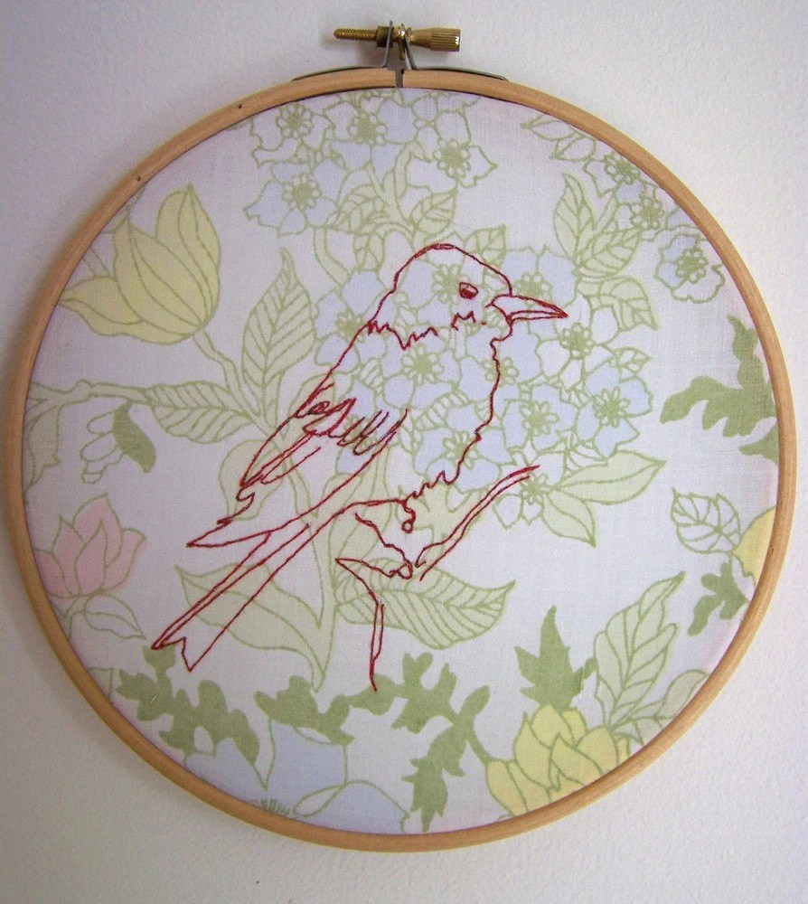 bird study1 - hand embroidery on vintage fabric