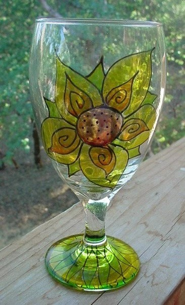 SUNFLOWER goblets SET OF 2 dishwasher safe 16oz