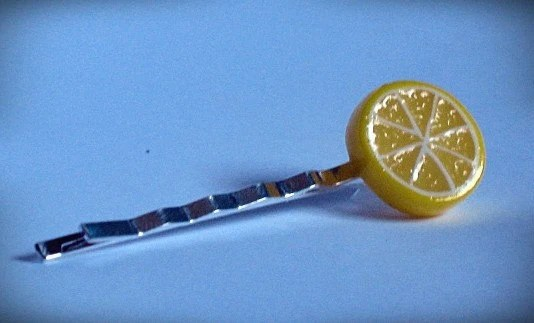 Handmade Lemon Slice Polymer Clay Hair Pin