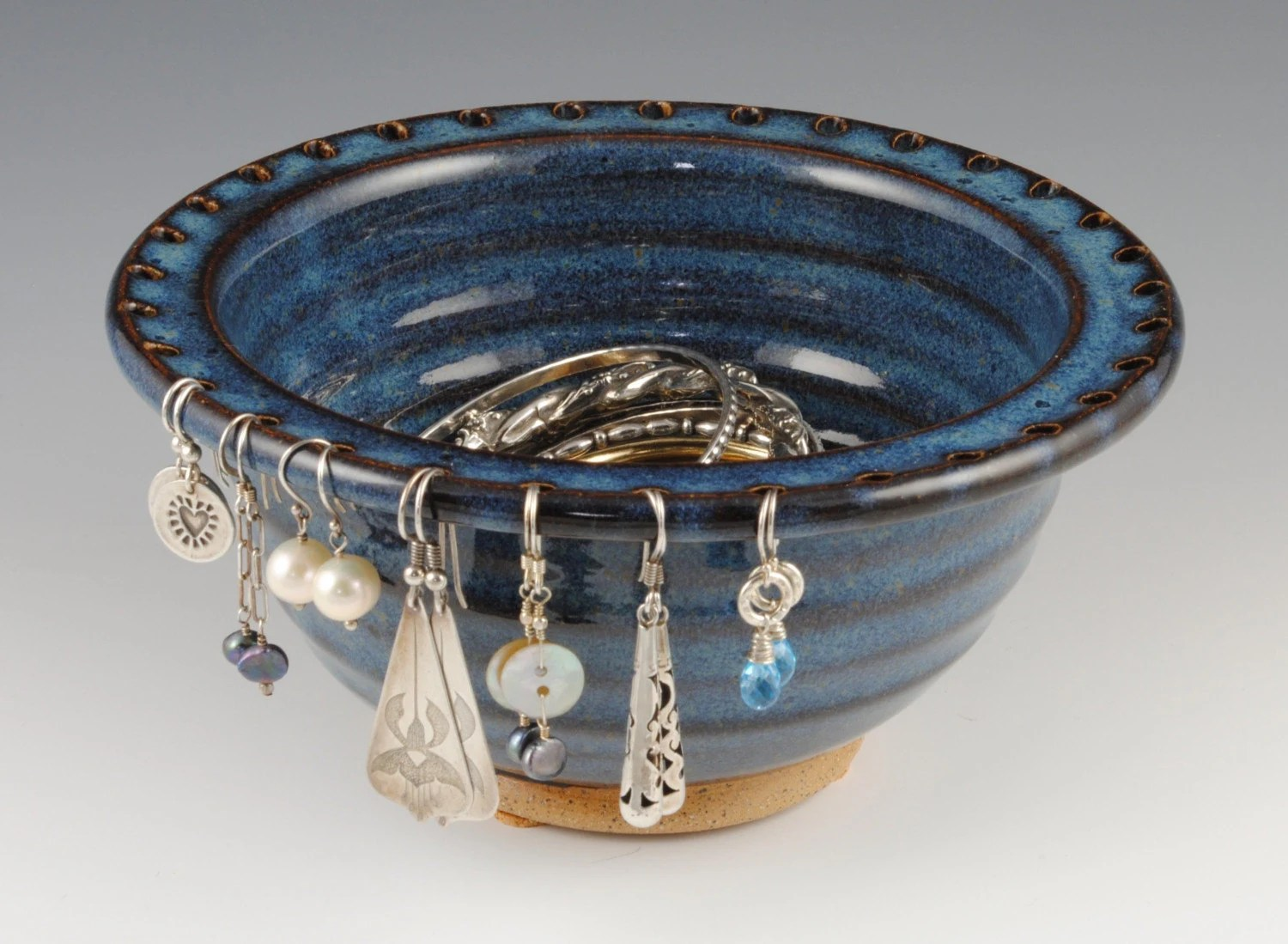 Denim Blue Stoneware Jewelry Bowl