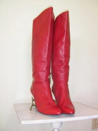 Rockin Red Tall 80s Boots
