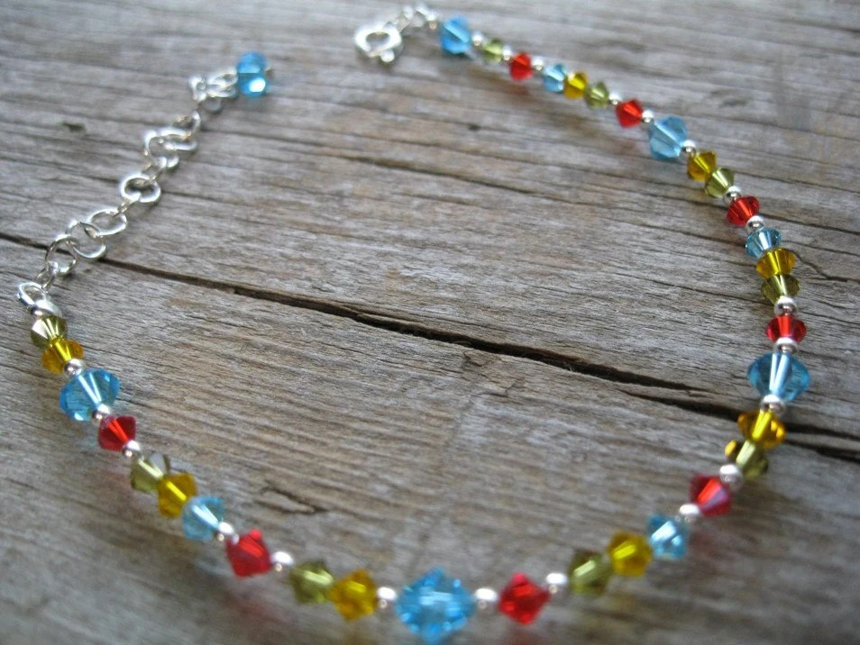 Bright Colorful Swarovski Crystal Anklet