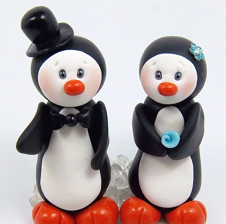 Personalized Wedding Cake Topper - Penguins Couple Theme Polymer Clay Figures