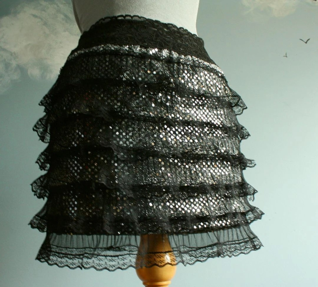 Black Silver Lace Tiered Skirt Mini Short Evening S 'DOUBLE DOG DARE'