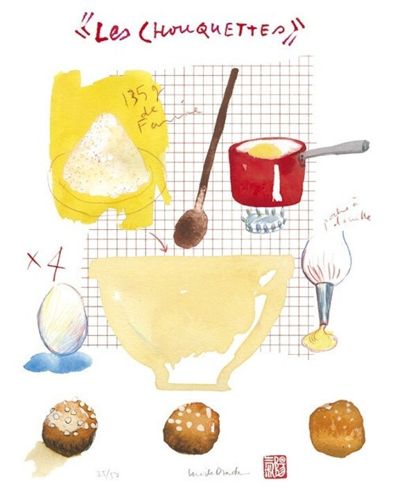 A french cake recipe No 2 - LES CHOUQUETTES - 8 X 10 Limited edition print