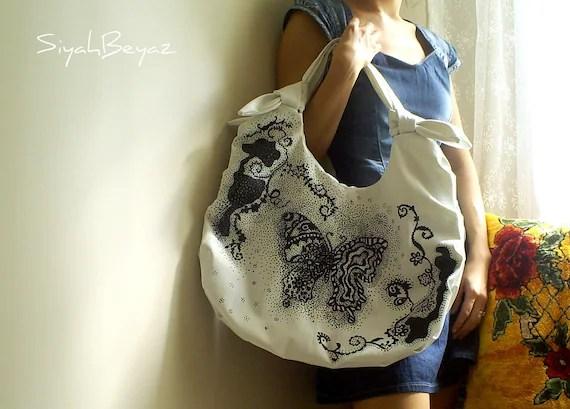 BUTTERFLY Handpainted Shoulder Bag Purse SiyahBeyaz AOD