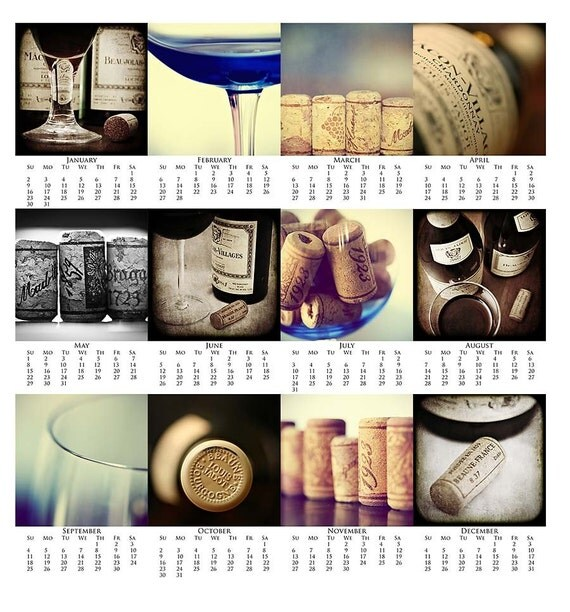 Calendar Sale - 2011 Fine Art Drink Calendar - Year In Wine Photography Prints - 4x6 - Foodie