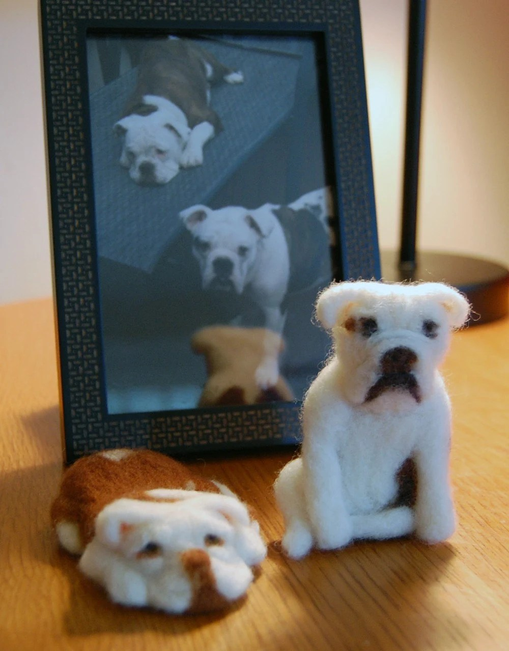 Bella and Pearl needle felted bulldogs