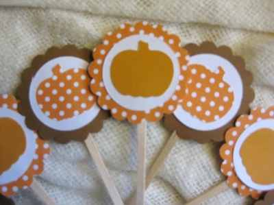 Thanksgiving or Fall Cupake Toppers