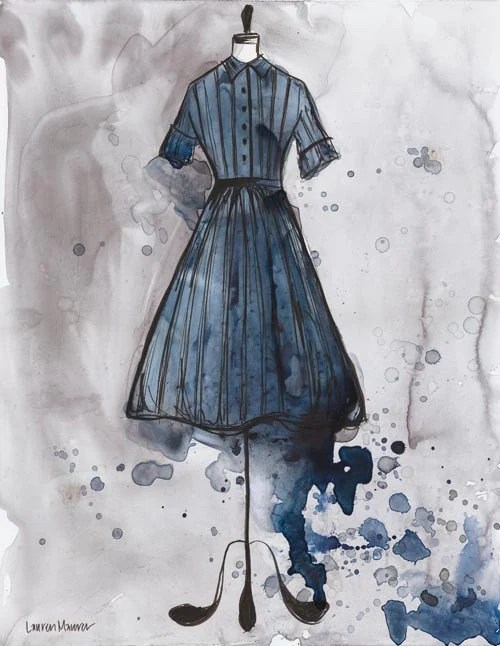 Original - Watercolor and Ink Painting - Vintage Prussian Blue Stripe Dress - 11x14