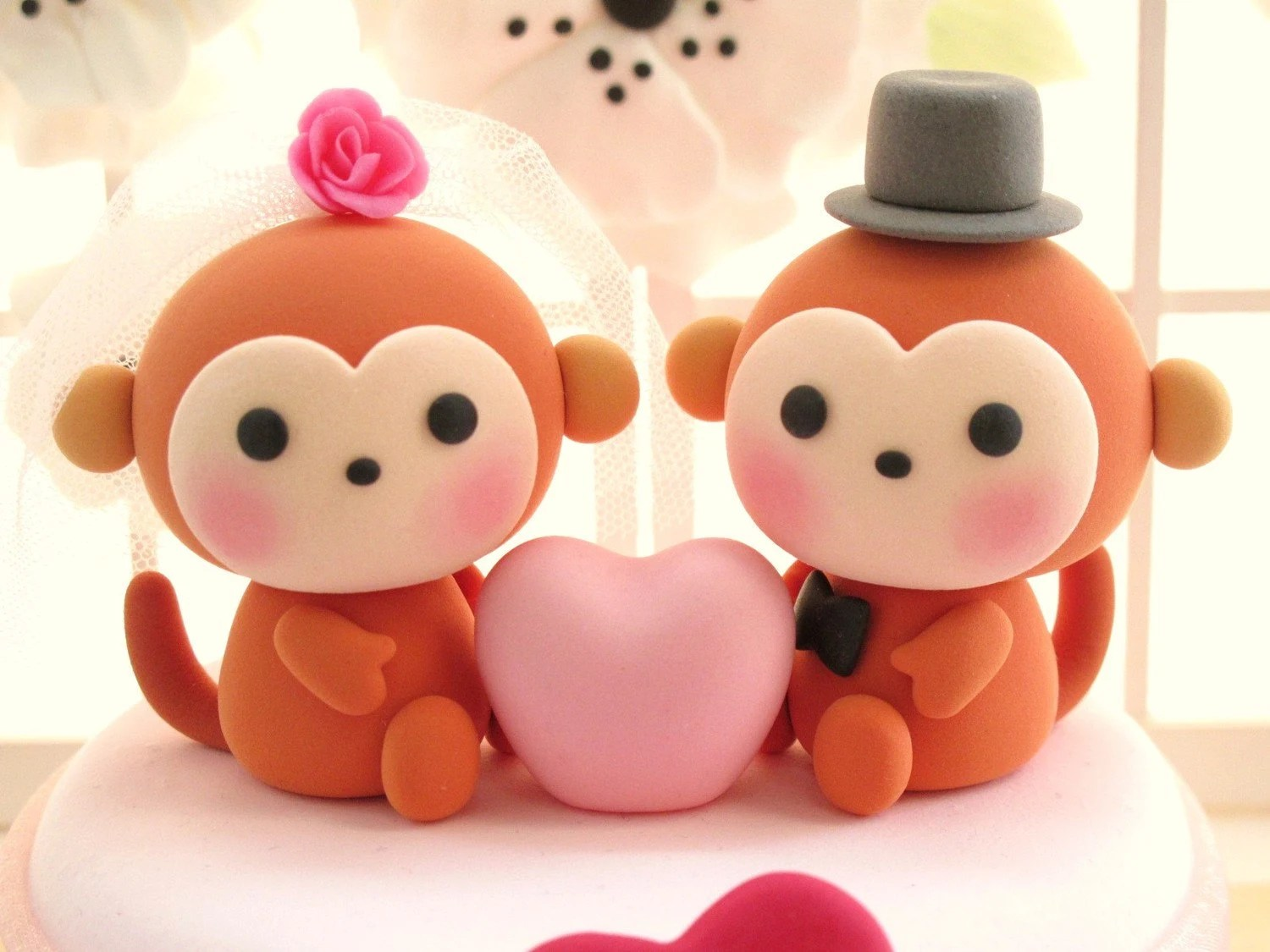 PROMOTION-------LOVE ANGELS Wedding Cake Topper-love monkeys