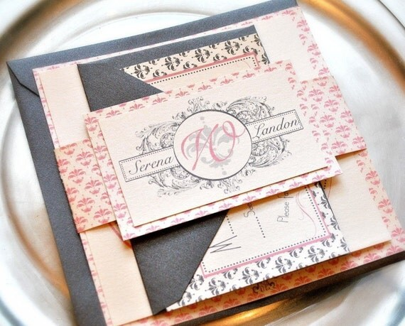 Hamptons Wedding Invitation Suite with Belly Band -  pink and silver