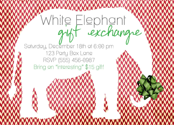 White Elephant Gift Exchange Party Invites (20 Printed Invites)