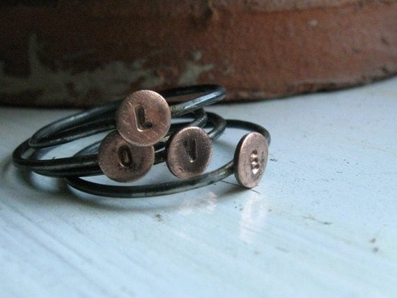 Rustic sterling and copper initial stacking rings