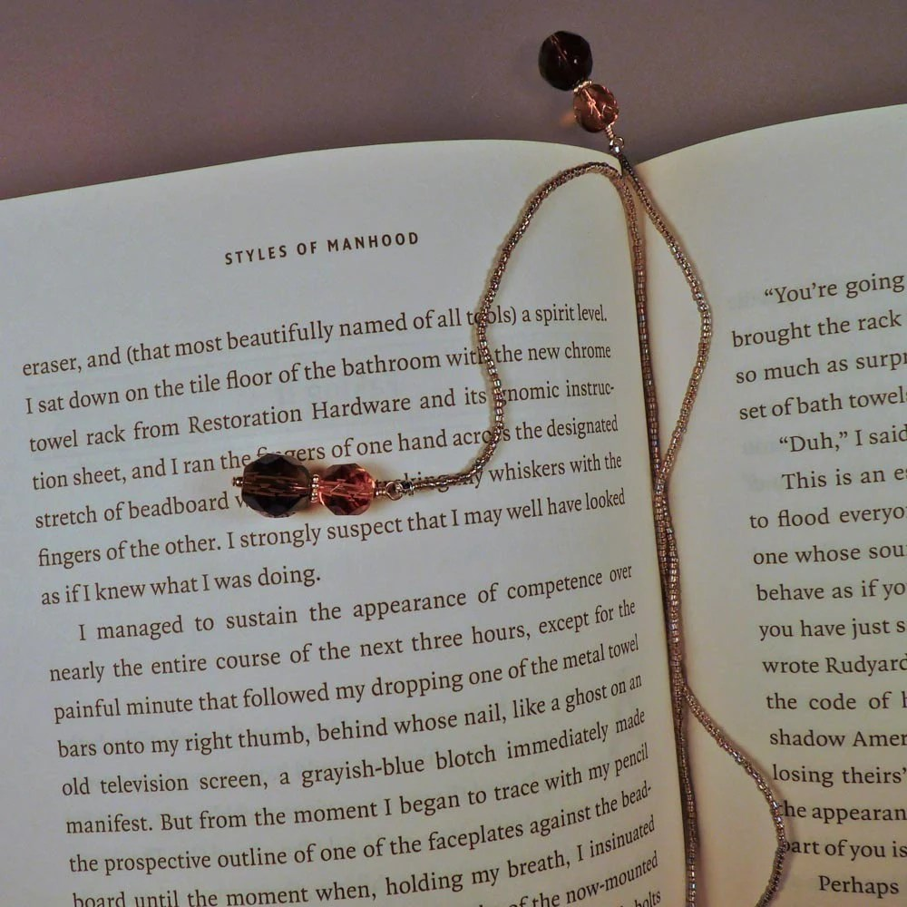 Gold and Brown Seed Bead Bookmark