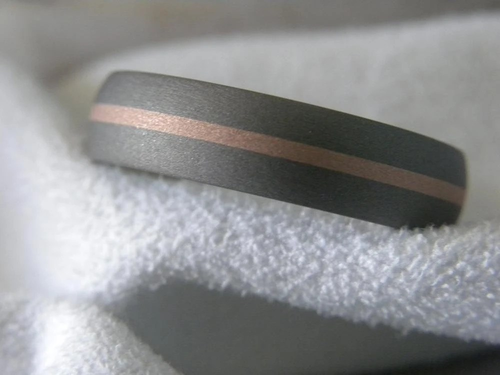Titanium Rose Gold Inlay Ring or Wedding Band