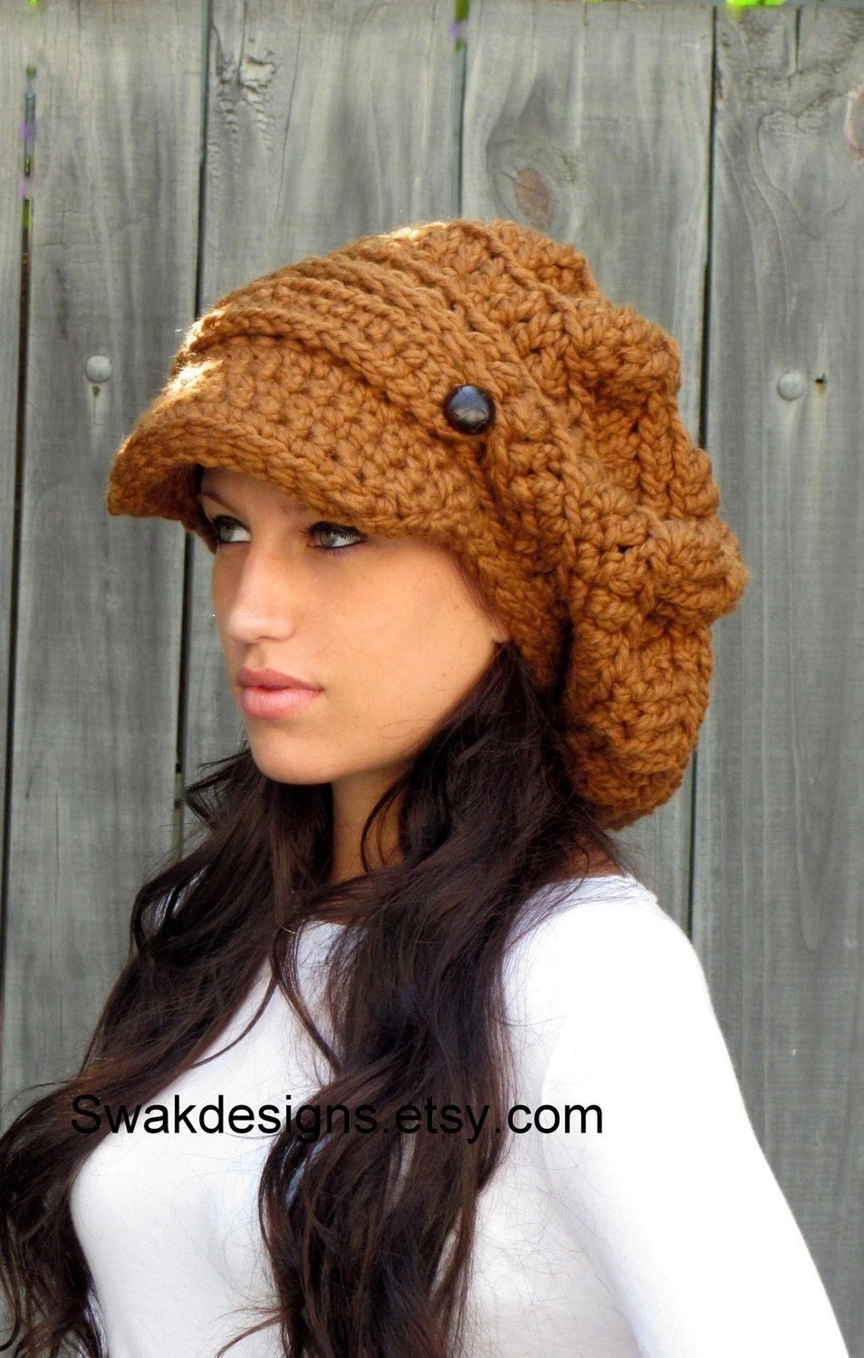 Two Button Band Slouchy Newsboy Cap - Oversized - Hazelnut - Handmade - CHOOSE Your color