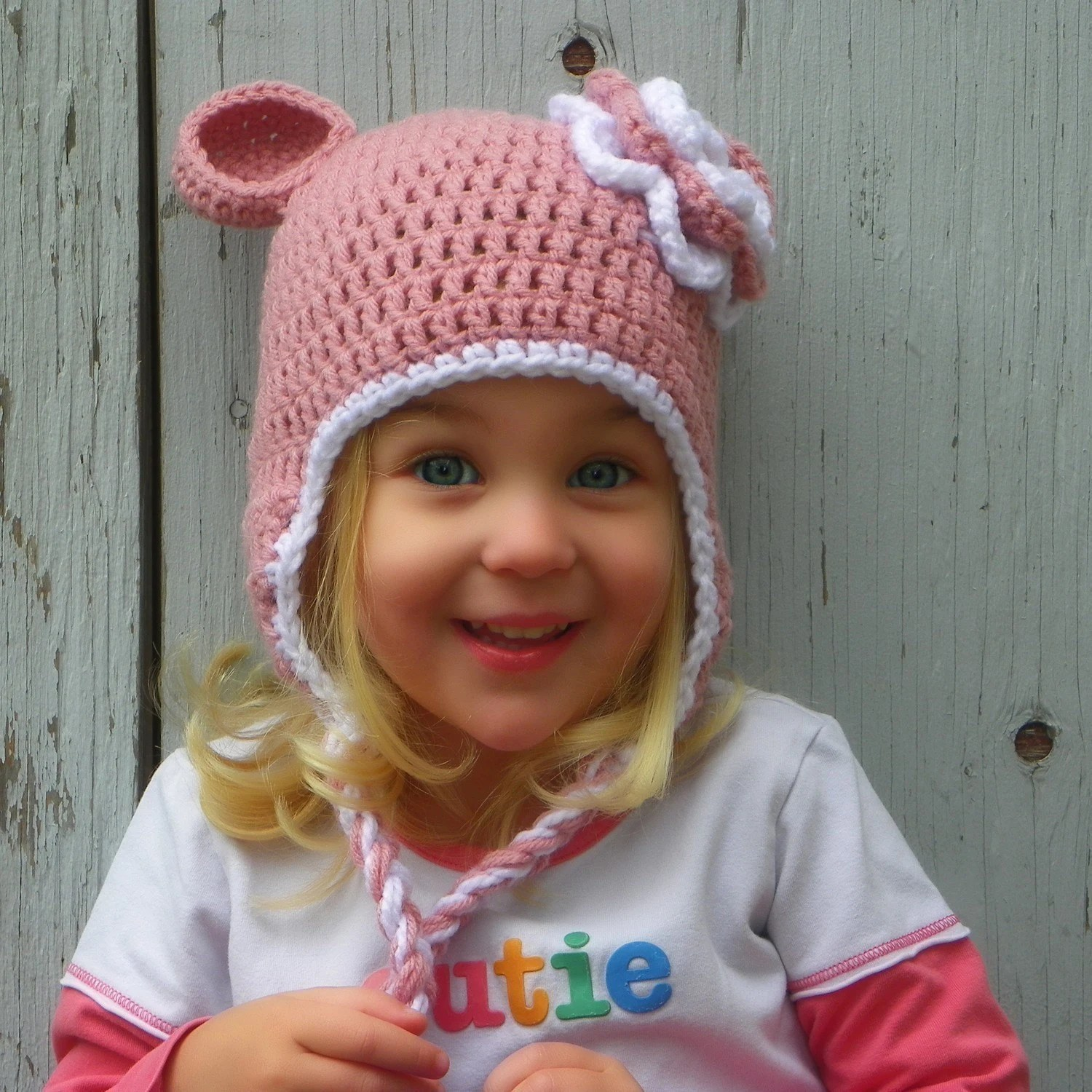 Girls Pink Crochet Bear Hat With White Trim And White And Pink Flower - Choose Your Size