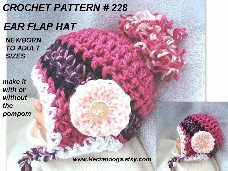 EARFLAP HAT, CROCHET PATTERN, number 228,  INSTRUCTIONS FOR 8 SIZES FROM..................................... NEWBORN TO ADULT....................... ALL IN ONE PATTERN.... sell your finished items