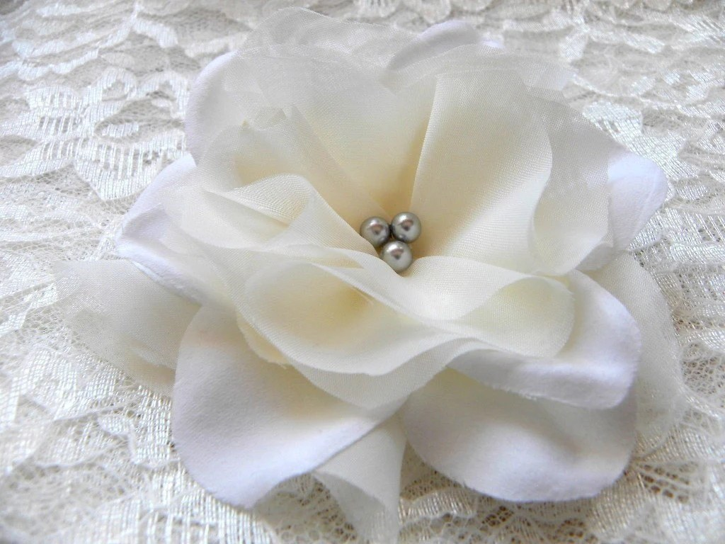 Atlantic Pure Ivory Bridal Hair Flower